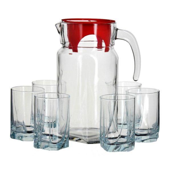 Dzbanek 1,7 L z czerwoną pokrywką i 6 szklanek 245 ml